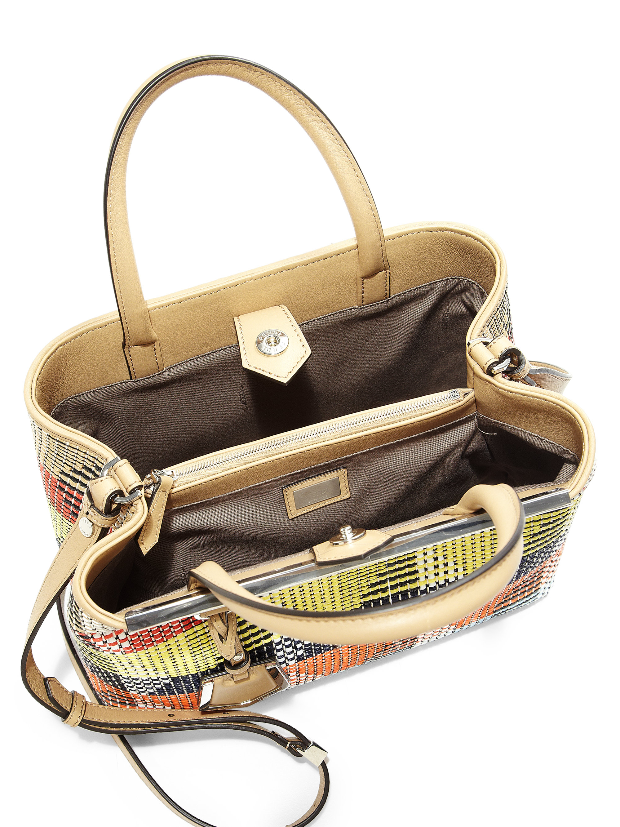 09630972c7f Fendi 2Jours Petite Multicolor Raffia Shopper in Multicolor (MULTI .