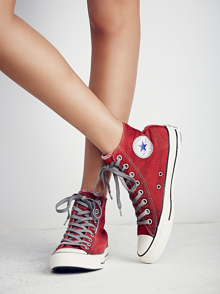 Free People Converse Womens Overdyed Wash High Top Chucks -1623