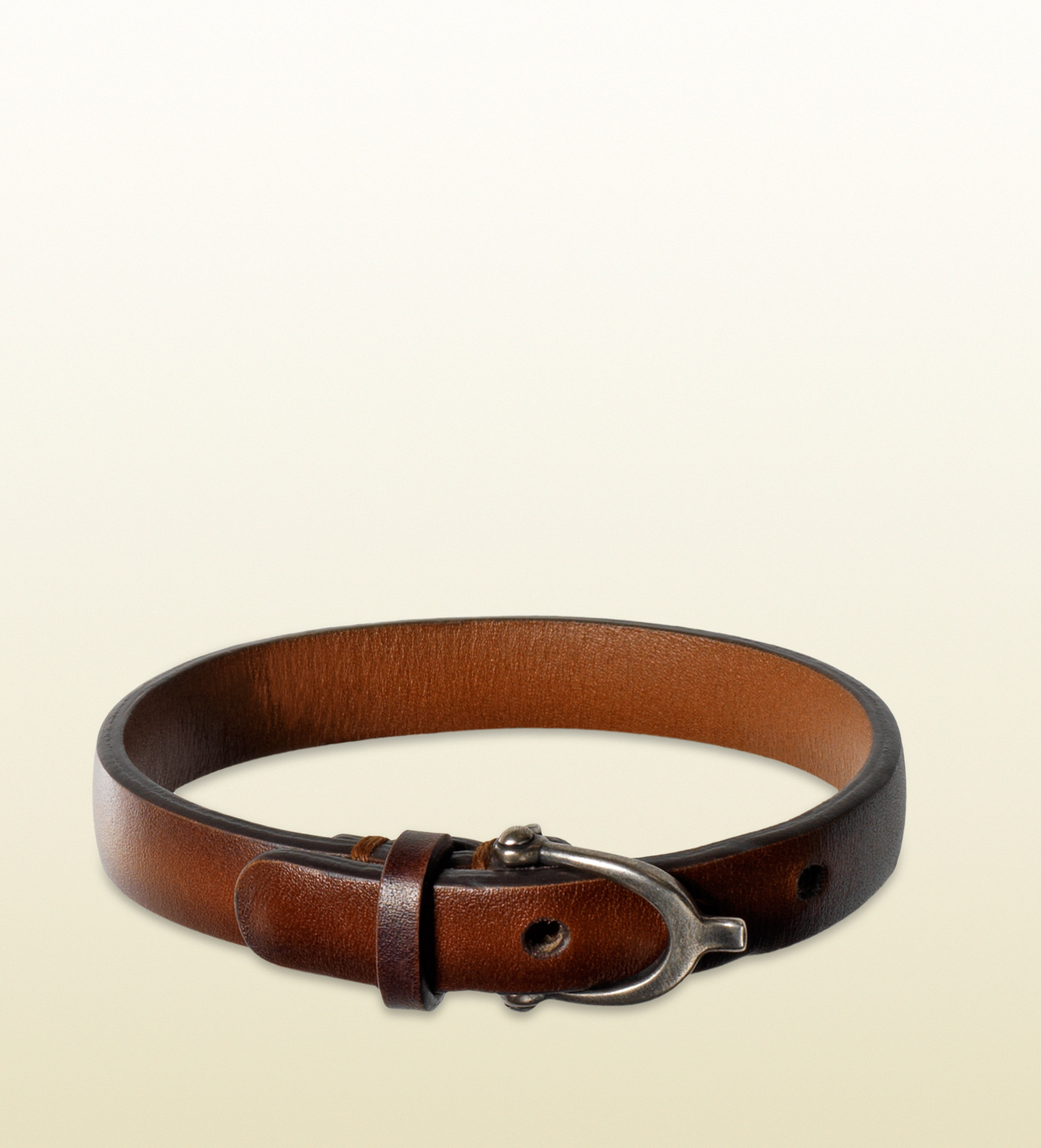 Lyst Gucci Leather Bracelet With Stirrup Buckle In Brown