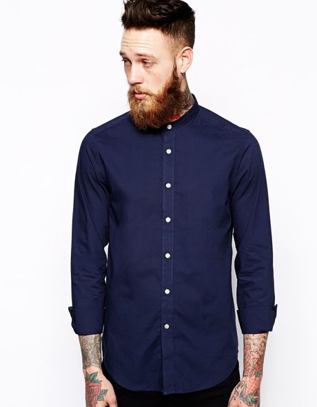 Asos Smart Shirt In Long Sleeve With Grandad Collar In