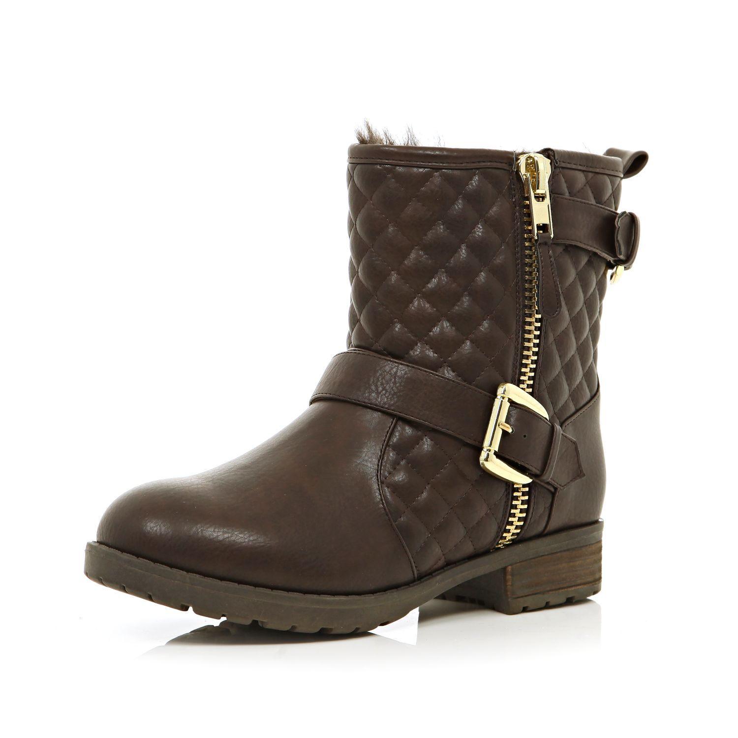 river island brown quilted biker boots in brown for