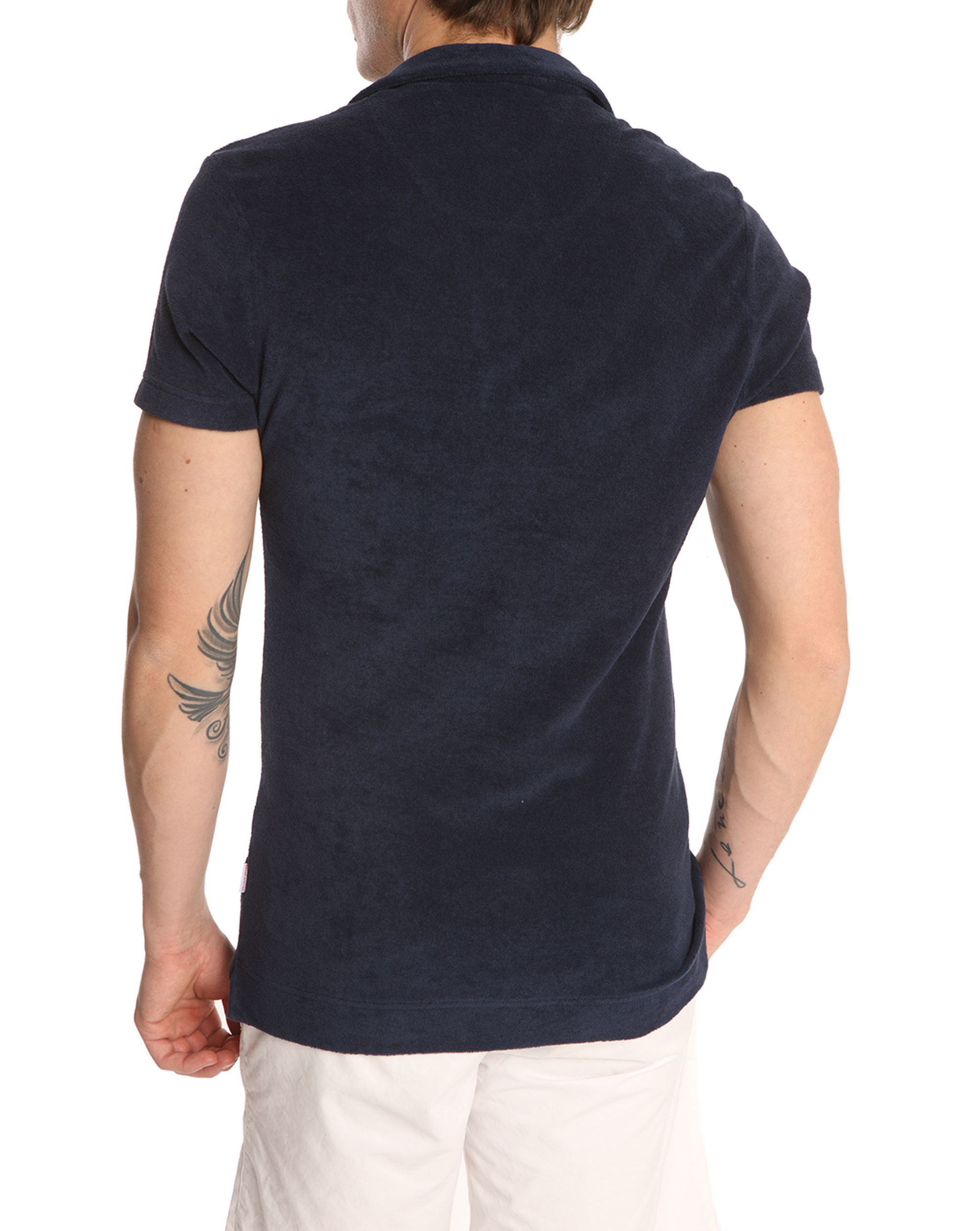 Orlebar brown navy terry cloth polo shirt in blue for men for Terry cloth polo shirt