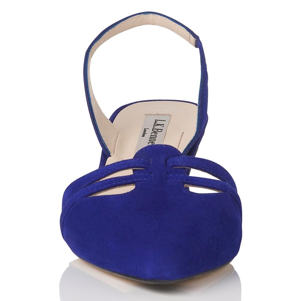 19a6428f3e9 L.K.Bennett Gabby Slingback Kitten Heel Sandals in Blue - Lyst
