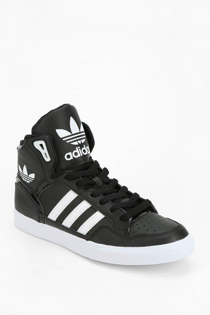 Adidas Originals Extaball Leather Hightop Sneaker In Black