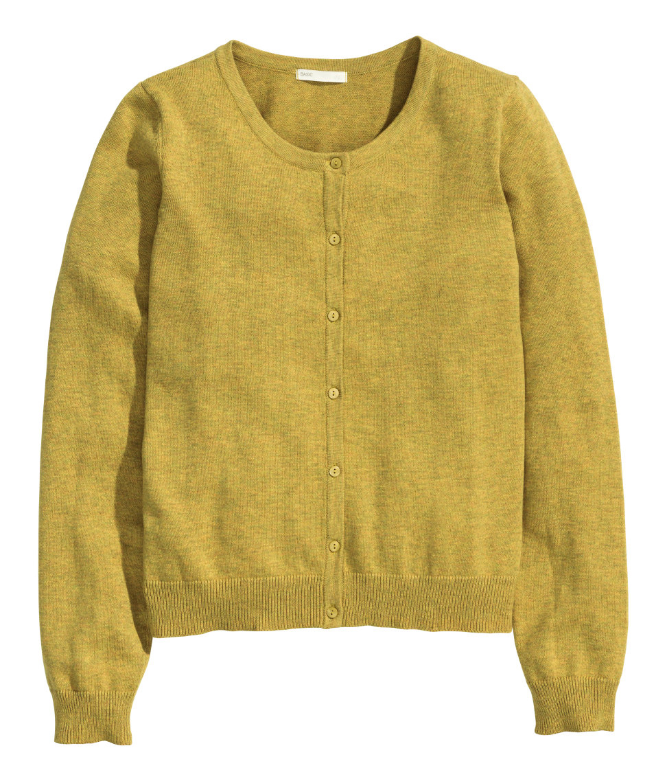 H&m Cotton Cardigan in Yellow | Lyst