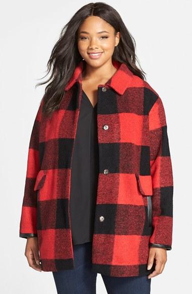 Pendleton Buffalo Plaid Wool Blend Barn Coat In Red Lyst