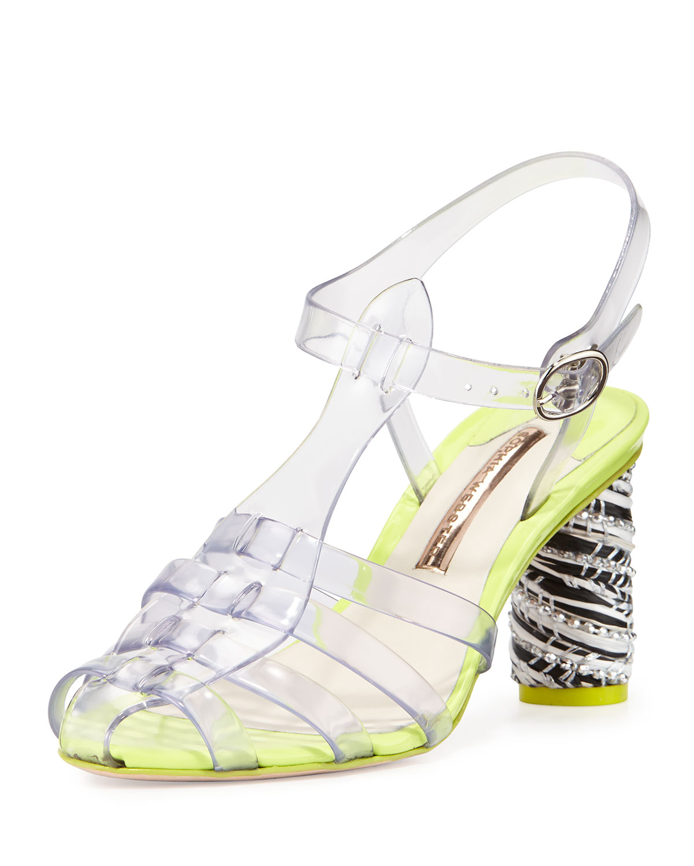 Sophia Webster Rosa Mid Heel Jelly Sandal In Transparent