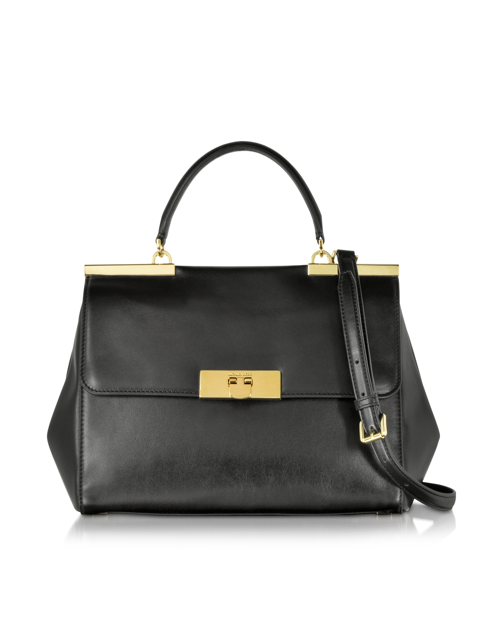 Michael kors Marlow Large Leather Satchel Bag in Black | Lyst