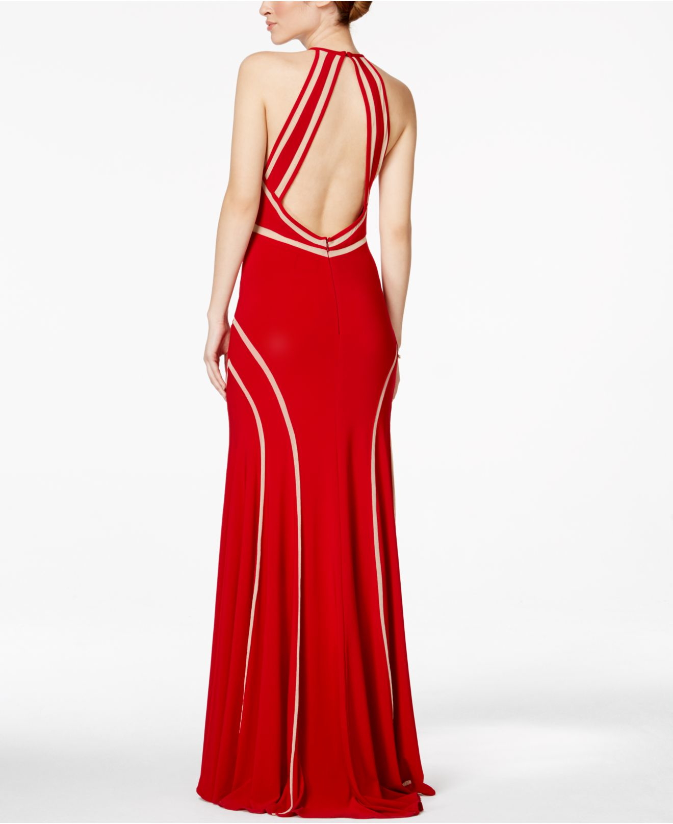 Lyst - Xscape Illusion Striped Halter Gown in Red