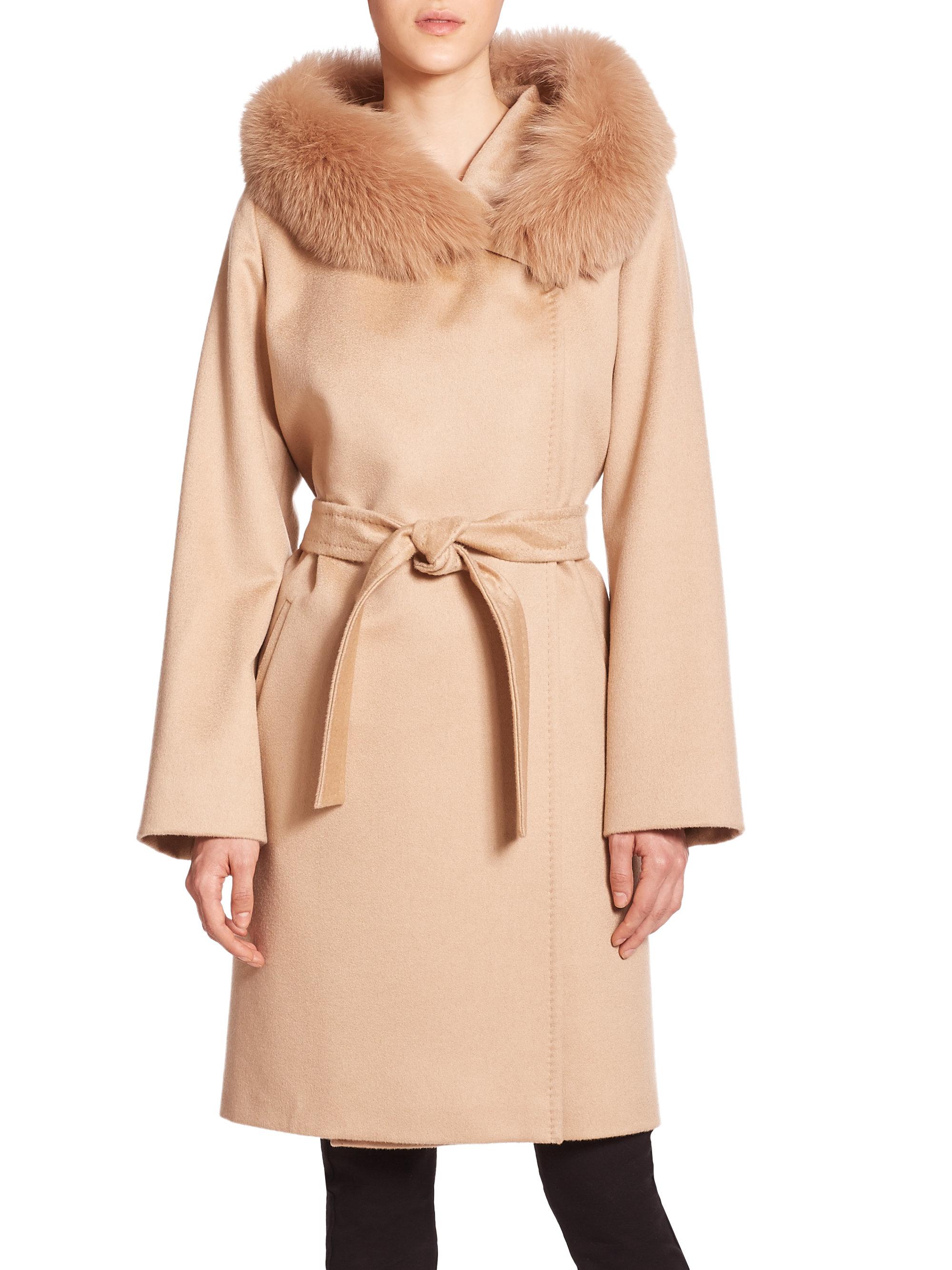 Max mara studio Lallo Fur-trimmed Cashmere Coat in Natural | Lyst