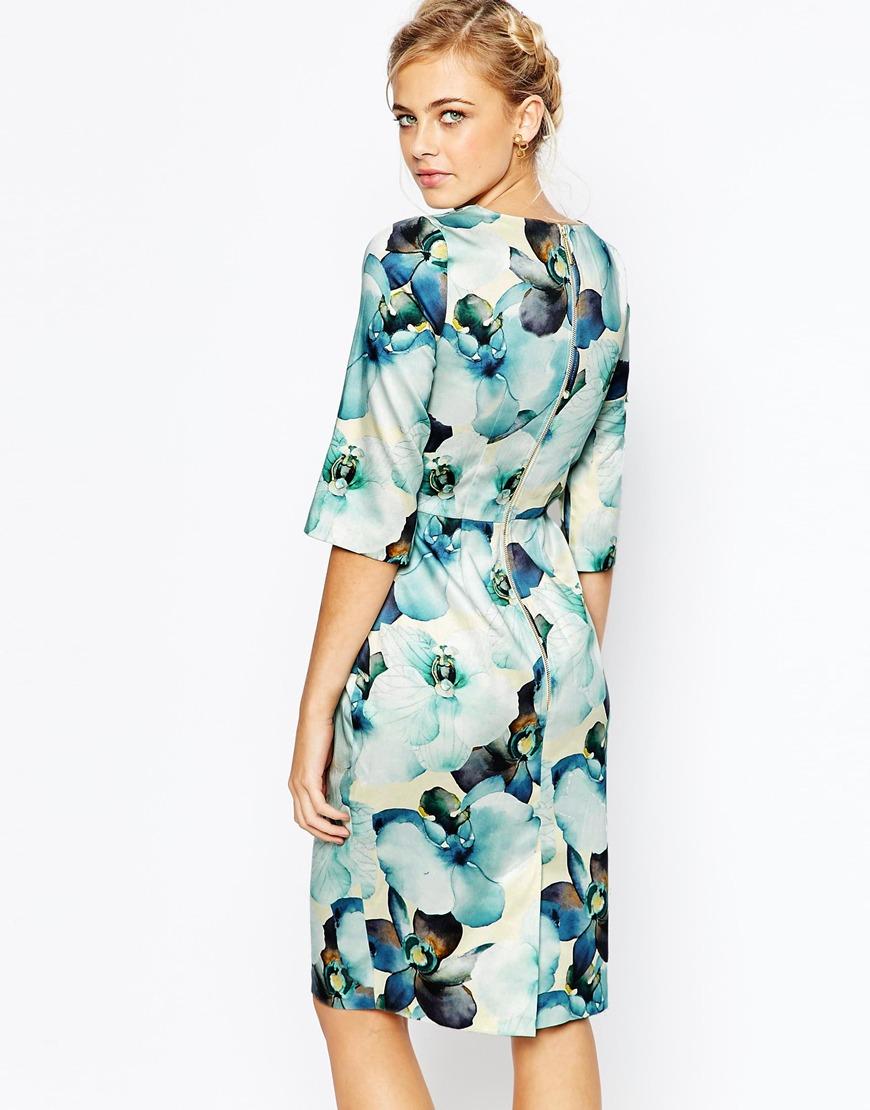 Lyst Closet Closet Floral Print Midi Dress With 3 4 Sleeve