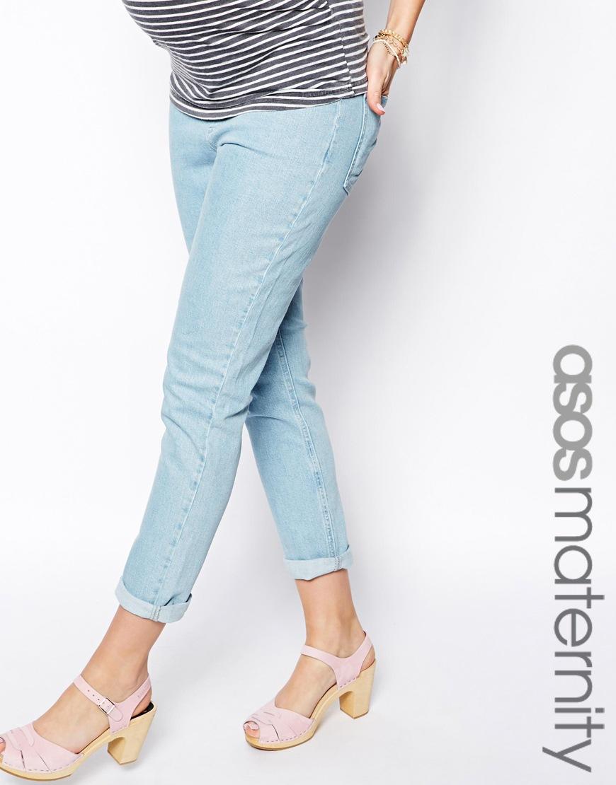 Asos Slim Mom Jean In Light Wash in Blue | Lyst