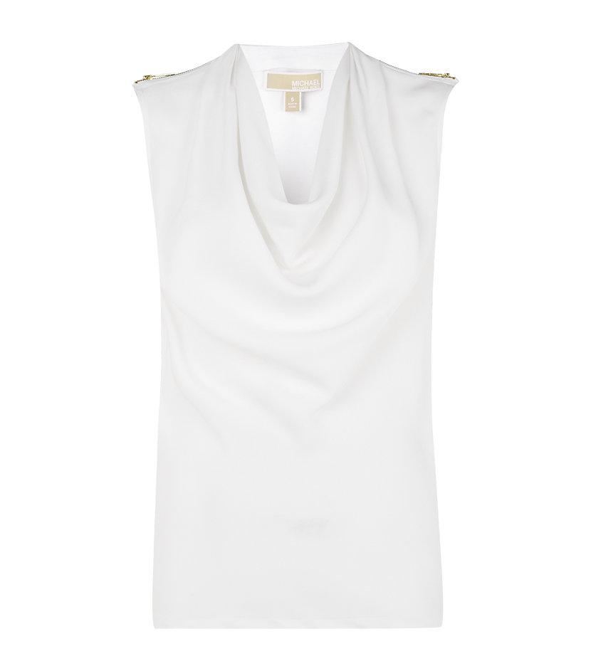 02caed2c9fffe MICHAEL Michael Kors Silk Cowl Neck Top in White - Lyst