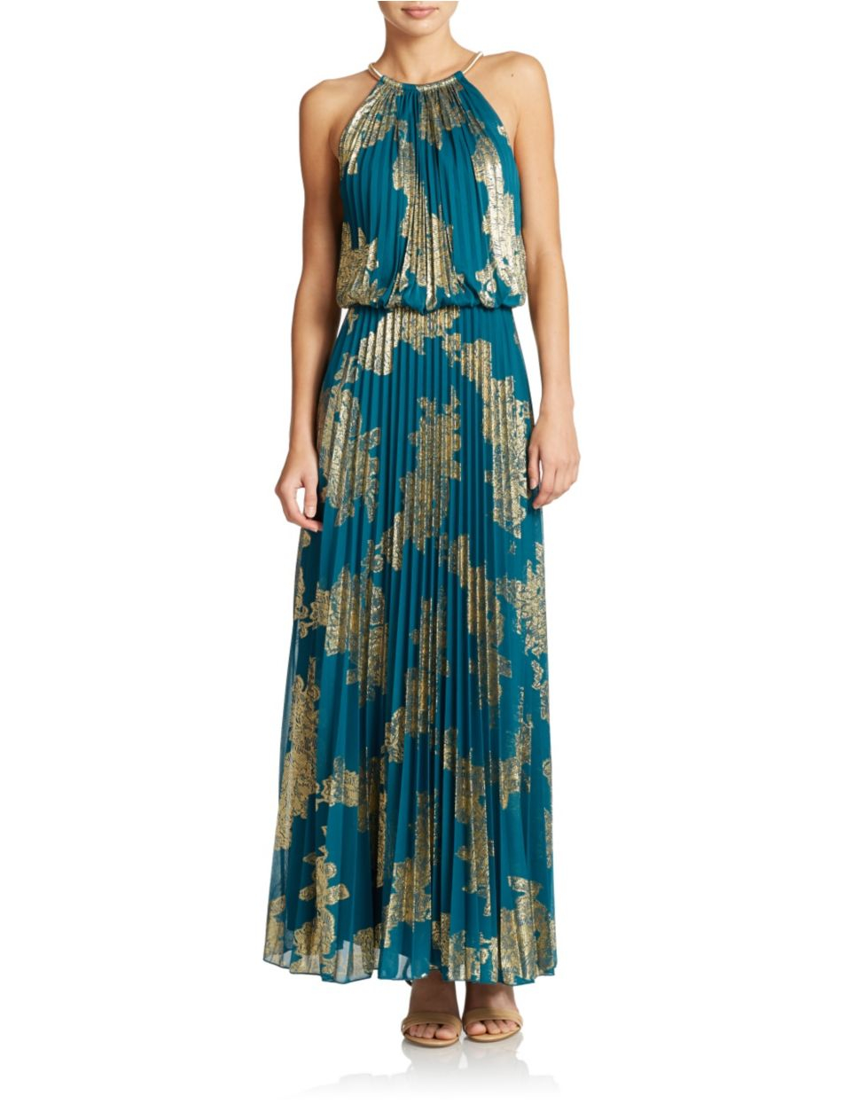 Lyst - Xscape Pleated Halter Top Gown in Green