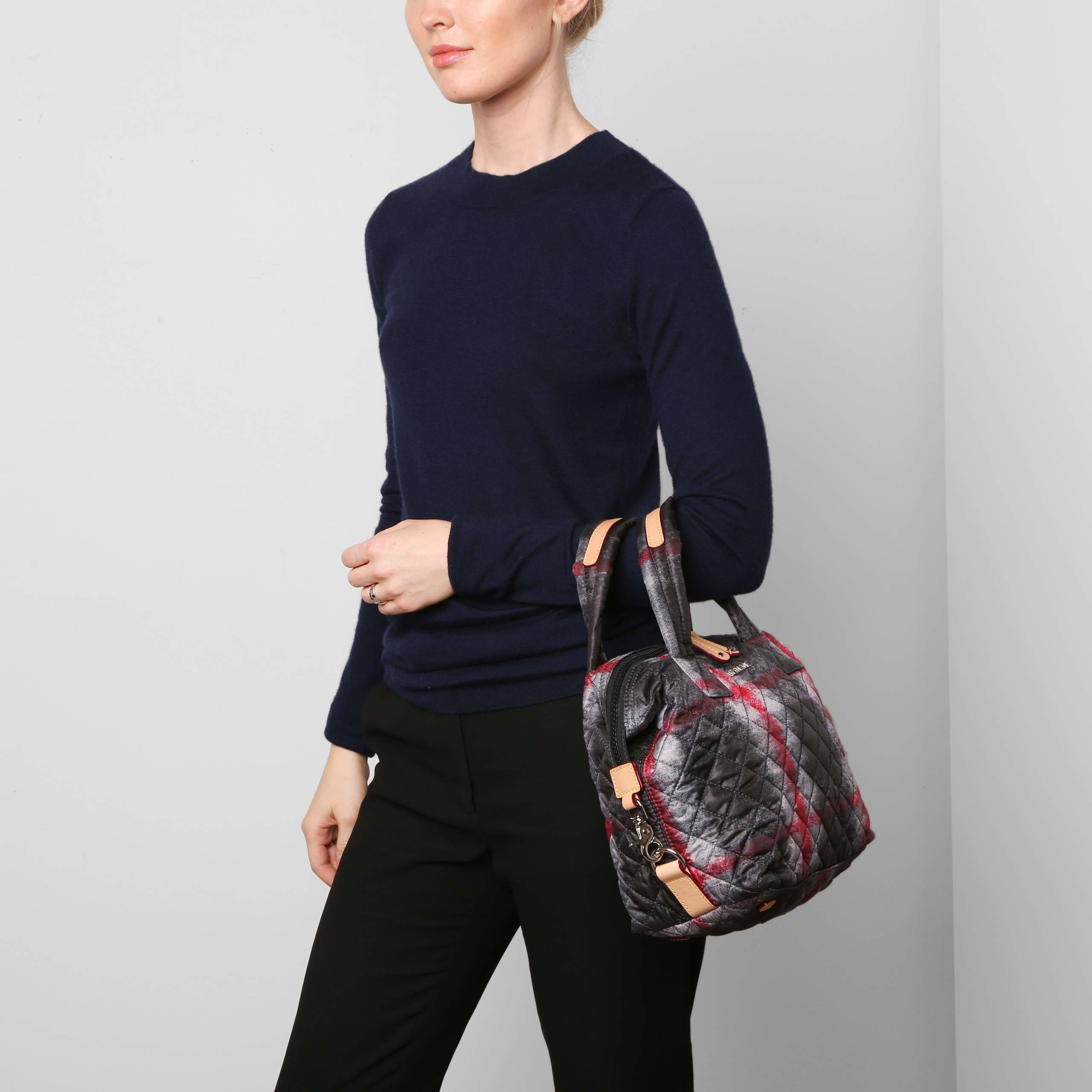 Lyst Mz Wallace Metro Medium Plaid Quilted Nylon Tote In Red