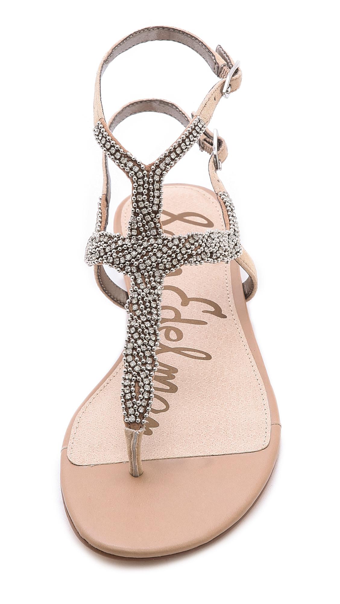 Nahara Buff Sam Nude Jeweled Sandals Edelman Brown eD2bH9IWEY