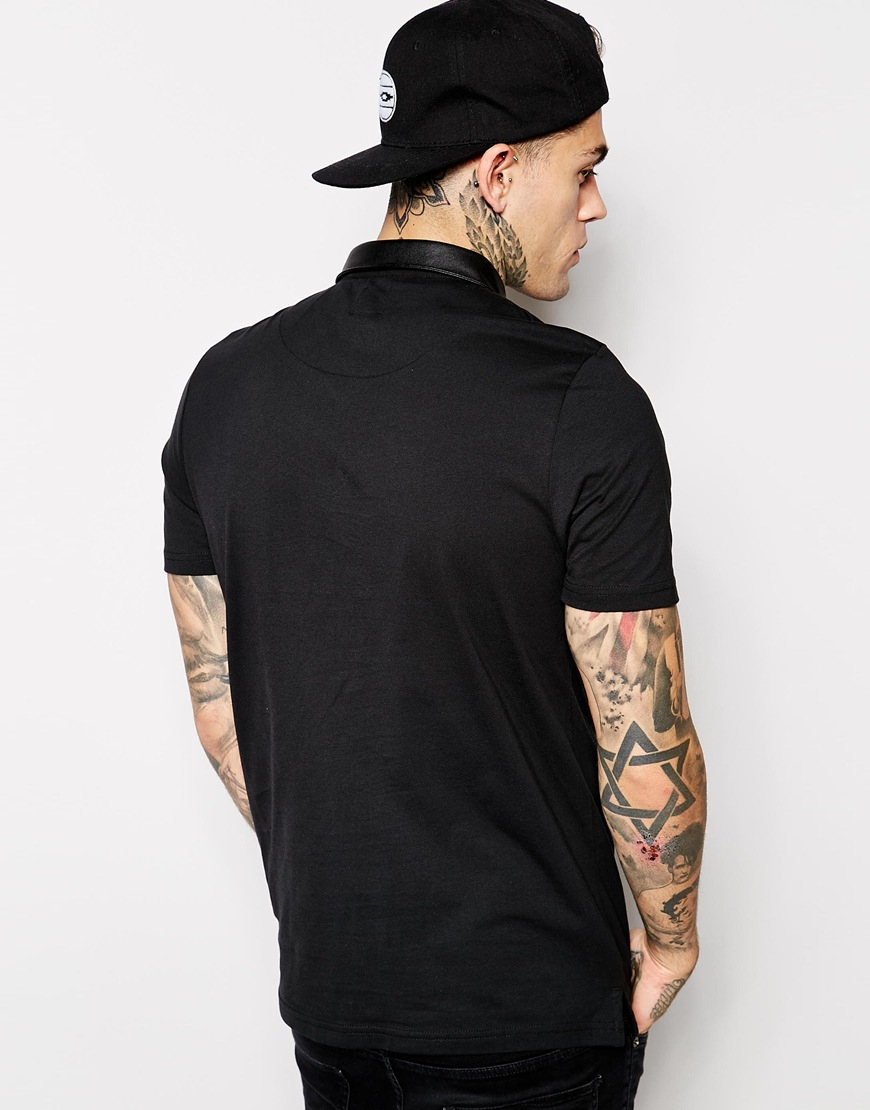Lyst Asos Polo Shirt With Leather Look Collar In Black