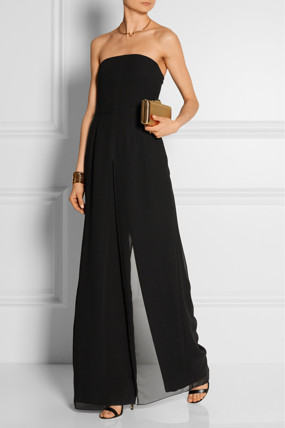 Lyst Halston Strapless Chiffon Trimmed Crepe Jumpsuit In