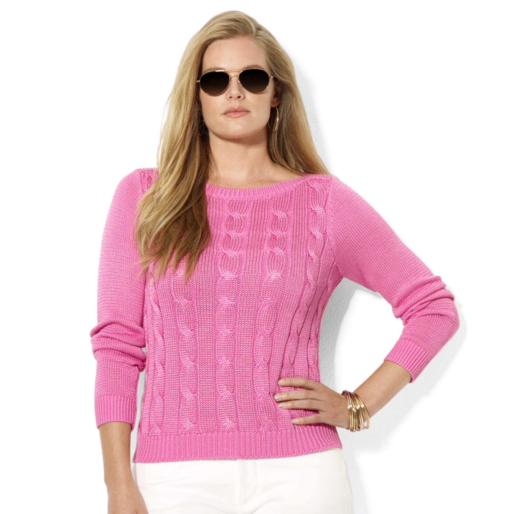 44f6797535a4 Lyst - Lauren by Ralph Lauren Plus Size Cableknit Boatneck Sweater ...