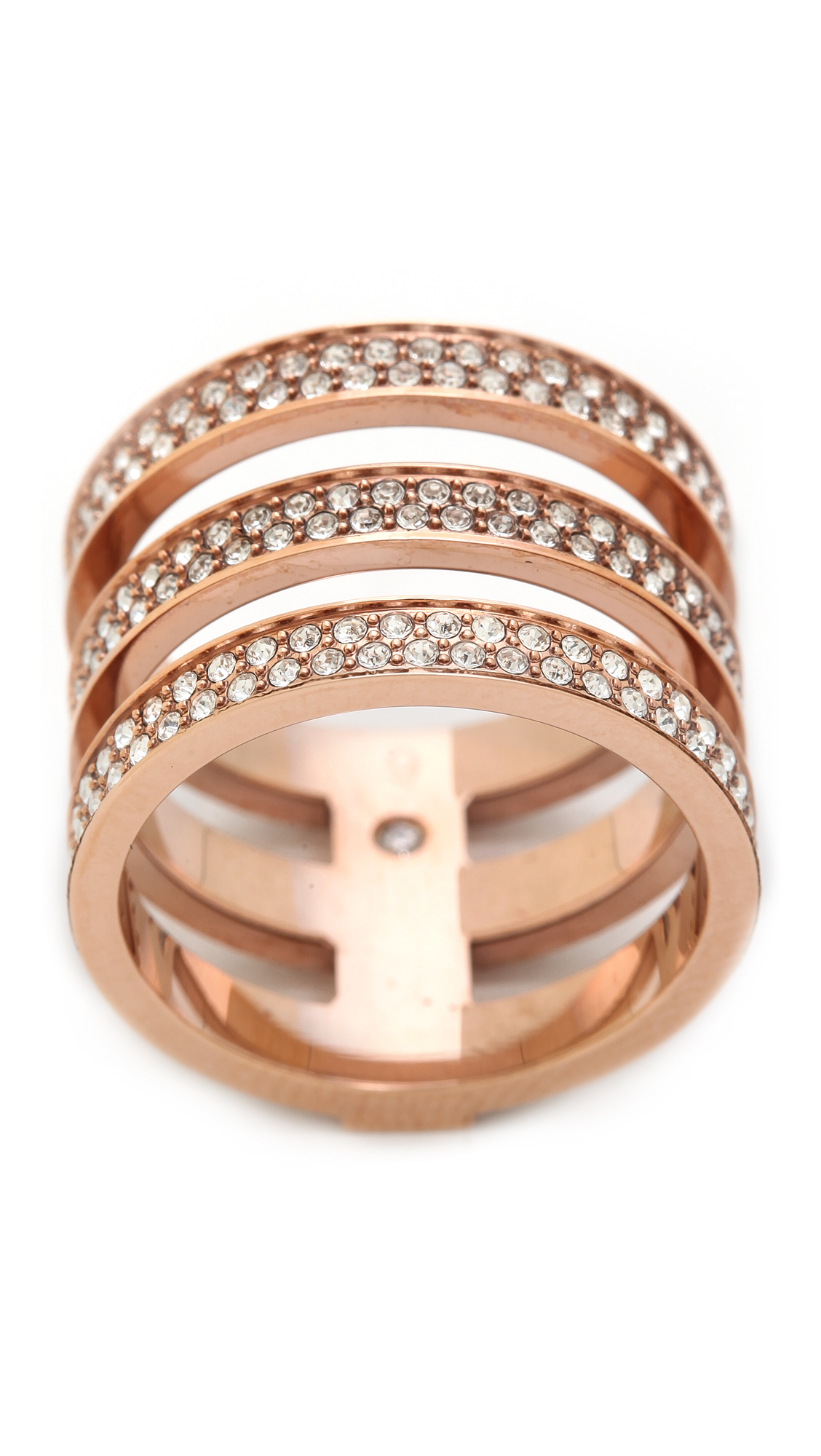 michael criss metallic ring lyst tri jewelry cross kors normal product rings in tritone gallery