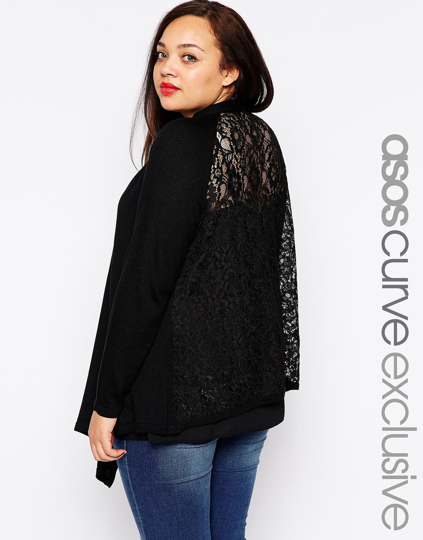 Asos Exclusive Waterfall Cardigan With Lace Back in Black | Lyst