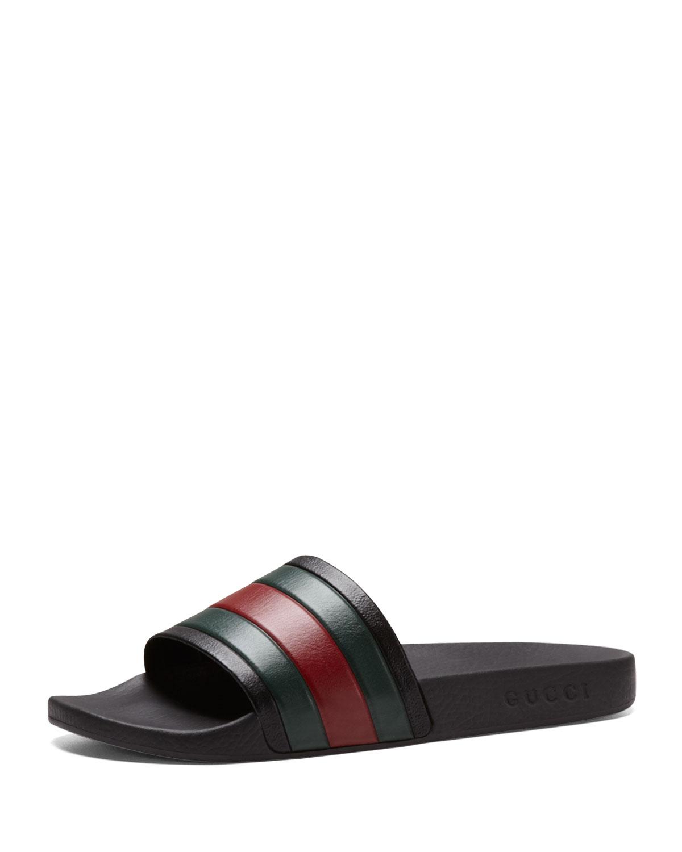 3961dab2e Gucci Pursuit '72 Rubber Slide Sandal in Black for Men | Lyst