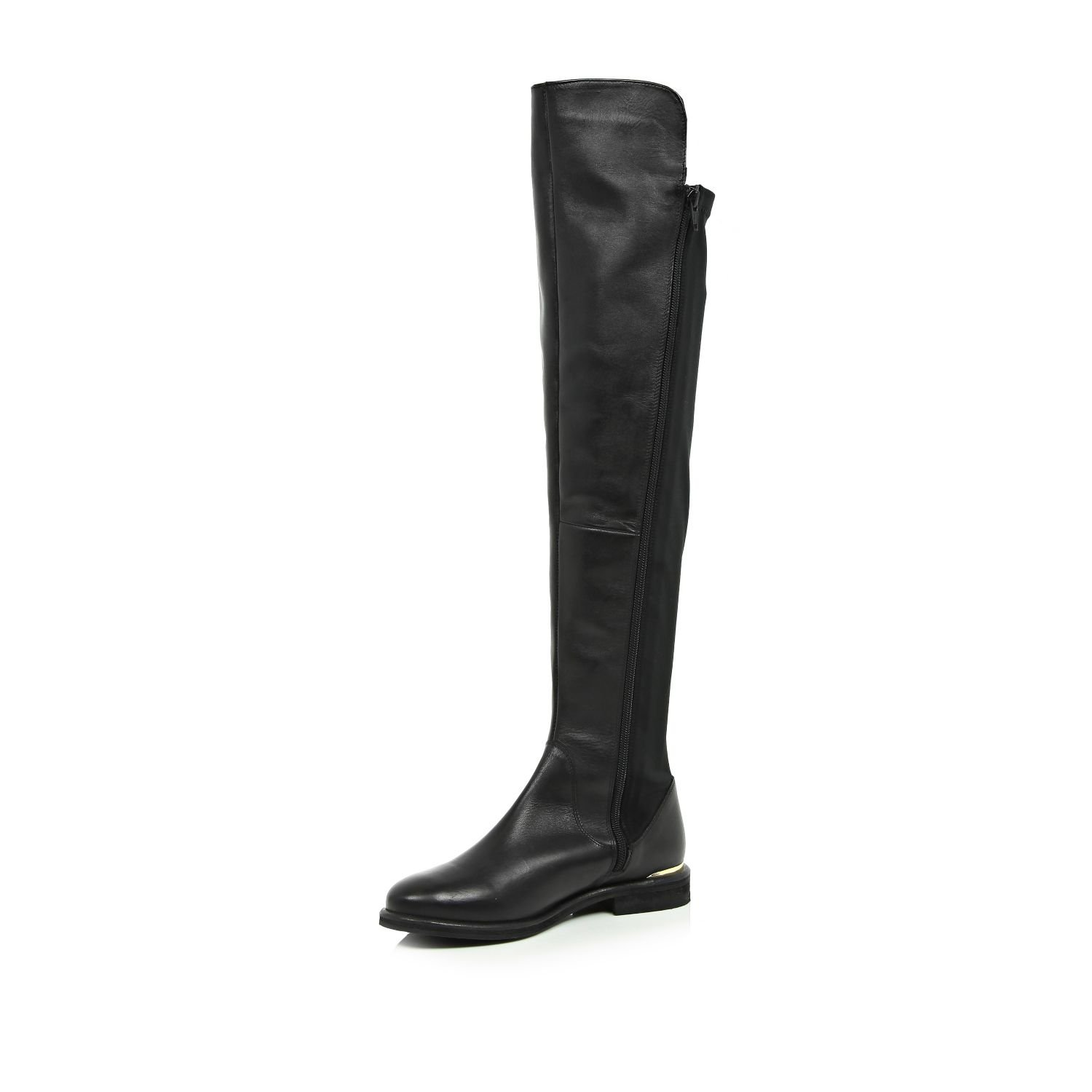5fcab481df3 River Island Black Leather Over The Knee Boots in Black - Lyst