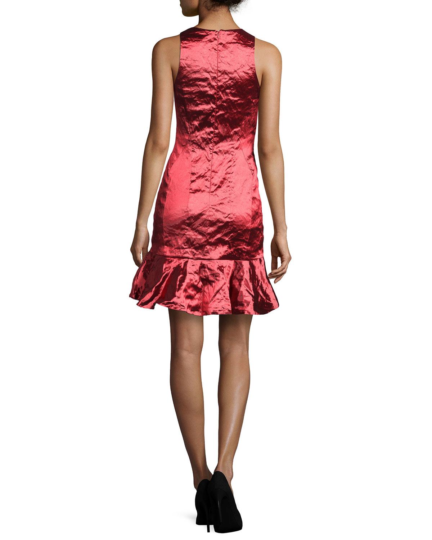 75d975d0 Nicole Miller Artelier Techno Metal Dress in Red - Lyst