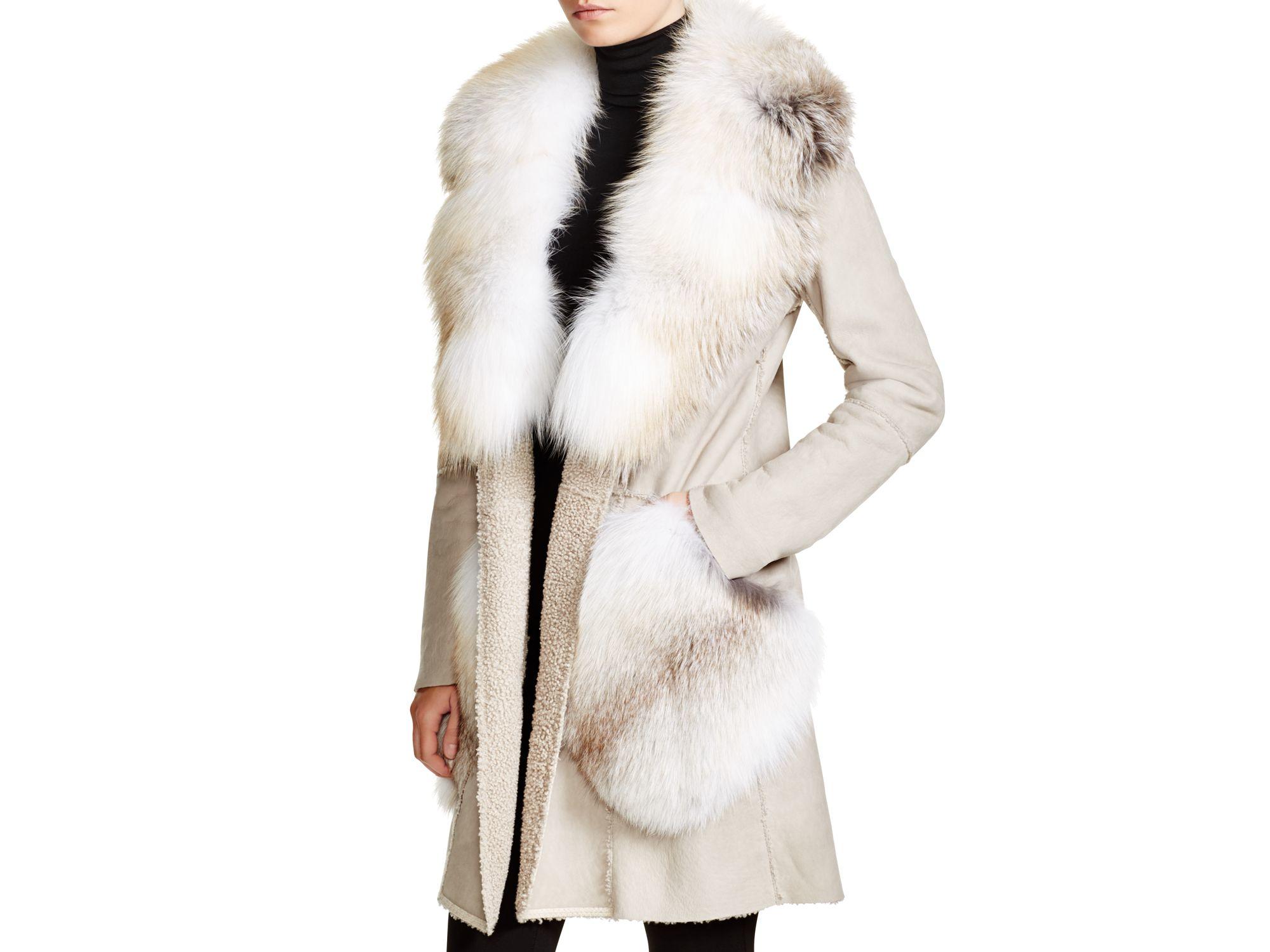 Maximilian Dennis Basso For Fox Fur Trim Shearling Coat in White