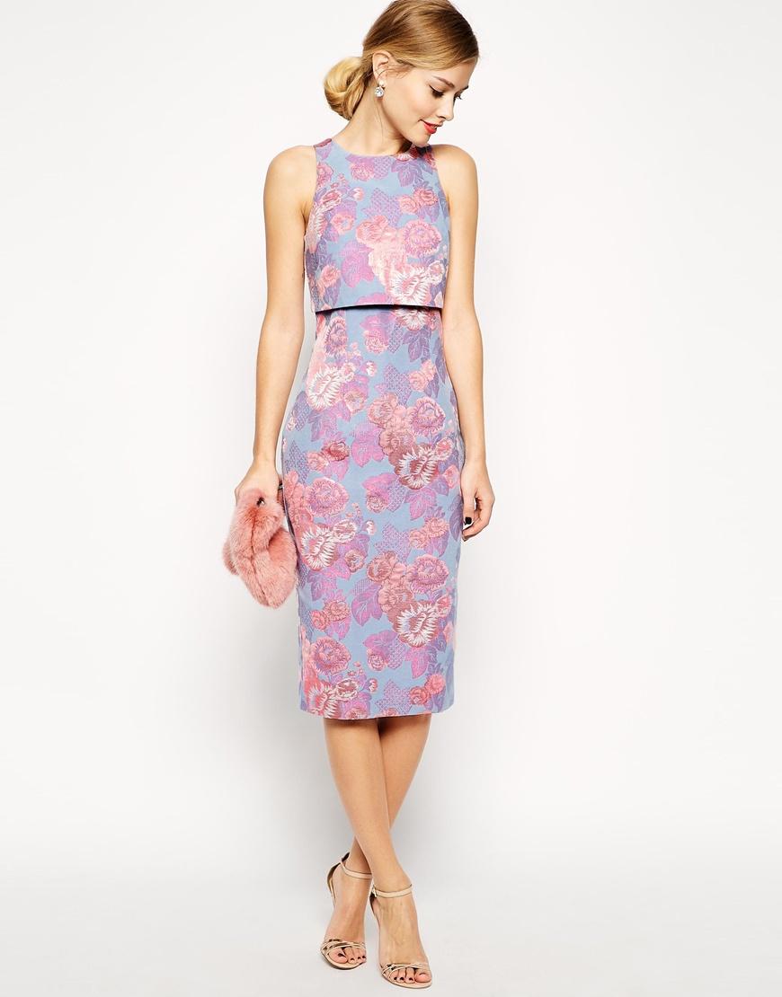 Asos Petite Jacquard Crop Top Dress In Pastel Floral In