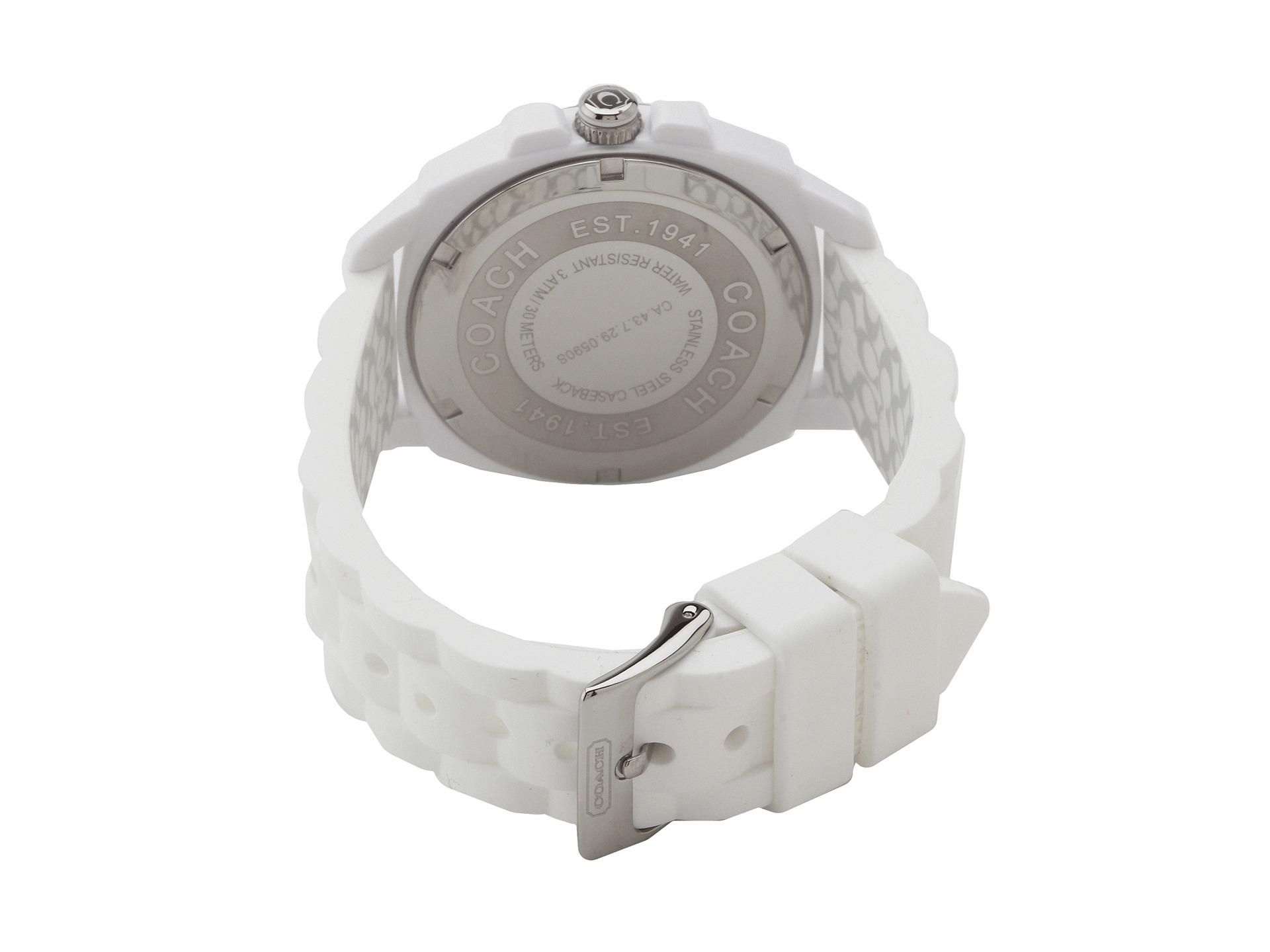fe455433d COACH Boyfriend Silicone Rubber Strap Watch in White - Lyst