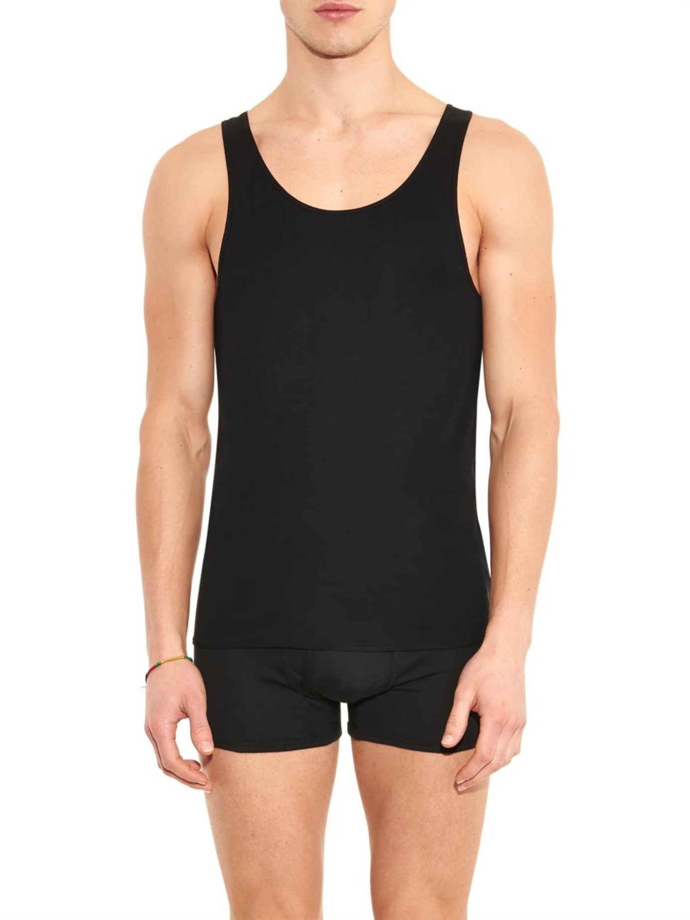 The white briefs Rye Cotton Tank Top in Black for Men