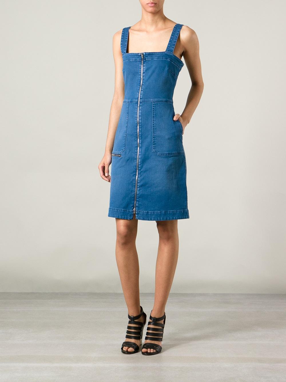 Lyst Stella Mccartney Denim Pinafore Dress In Blue
