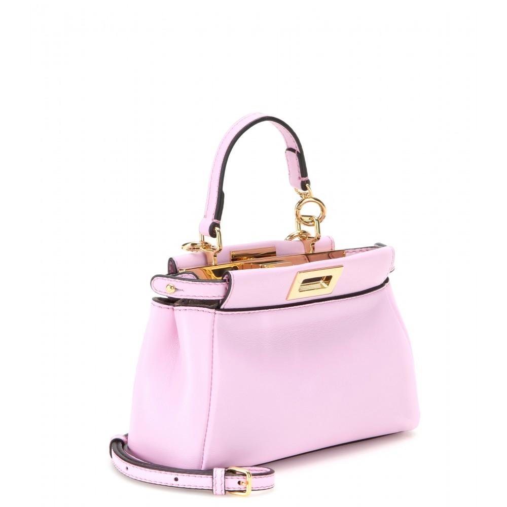 99ecbc21cda Lyst - Fendi Micro Peekaboo Leather Shoulder Bag in Pink
