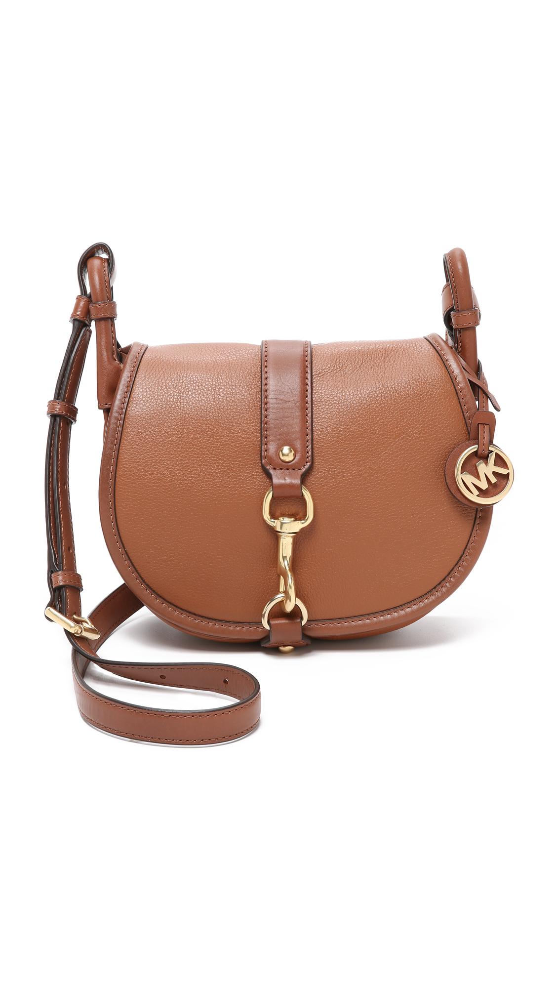 7c9946269e ... czech lyst michael michael kors jamie saddle bag in brown a14d6 79fb5  best price michael kors fulton large leather shoulder ...