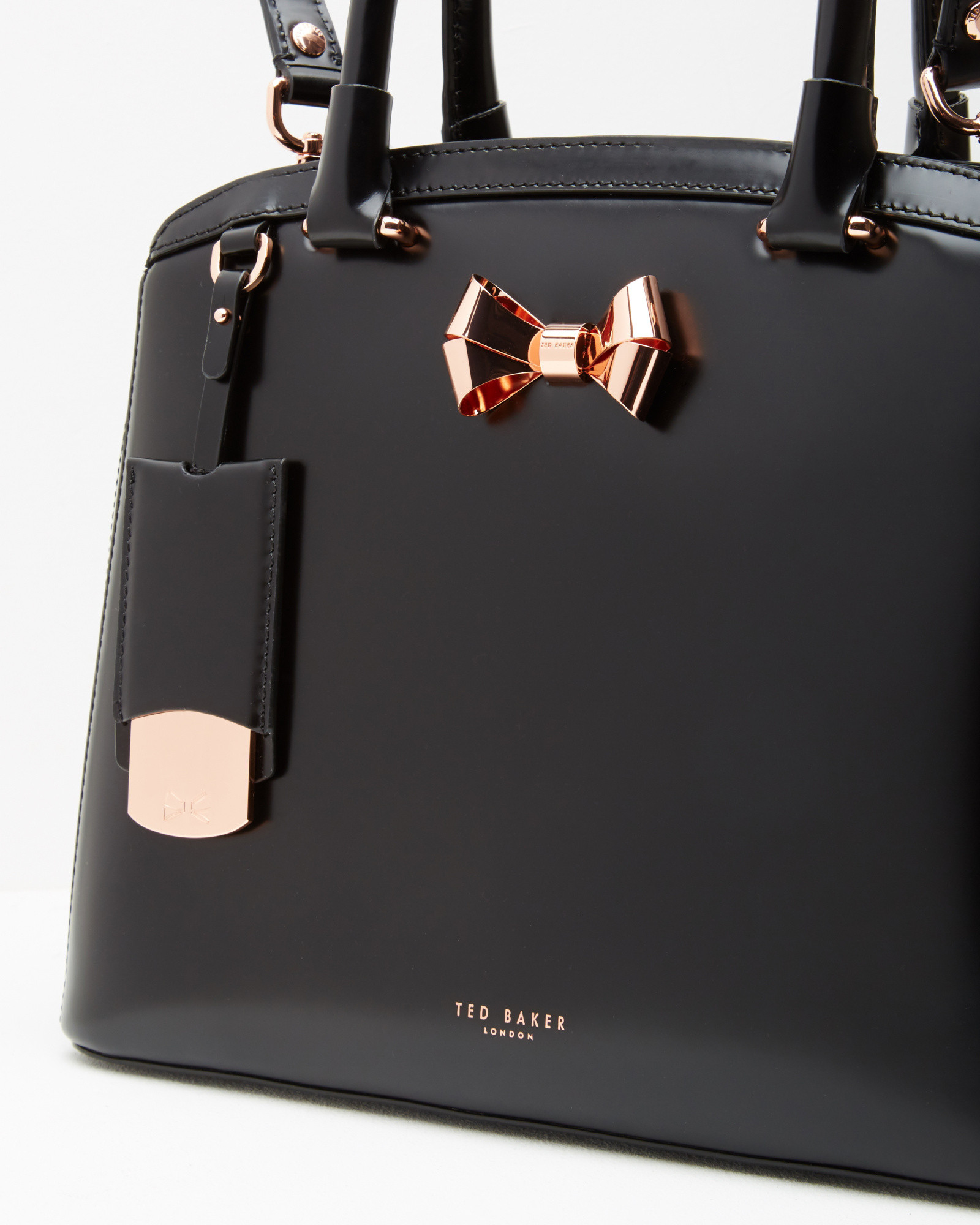 09746f6281d9a Lyst Ted Baker Bow Detail Leather Tote Bag In Black