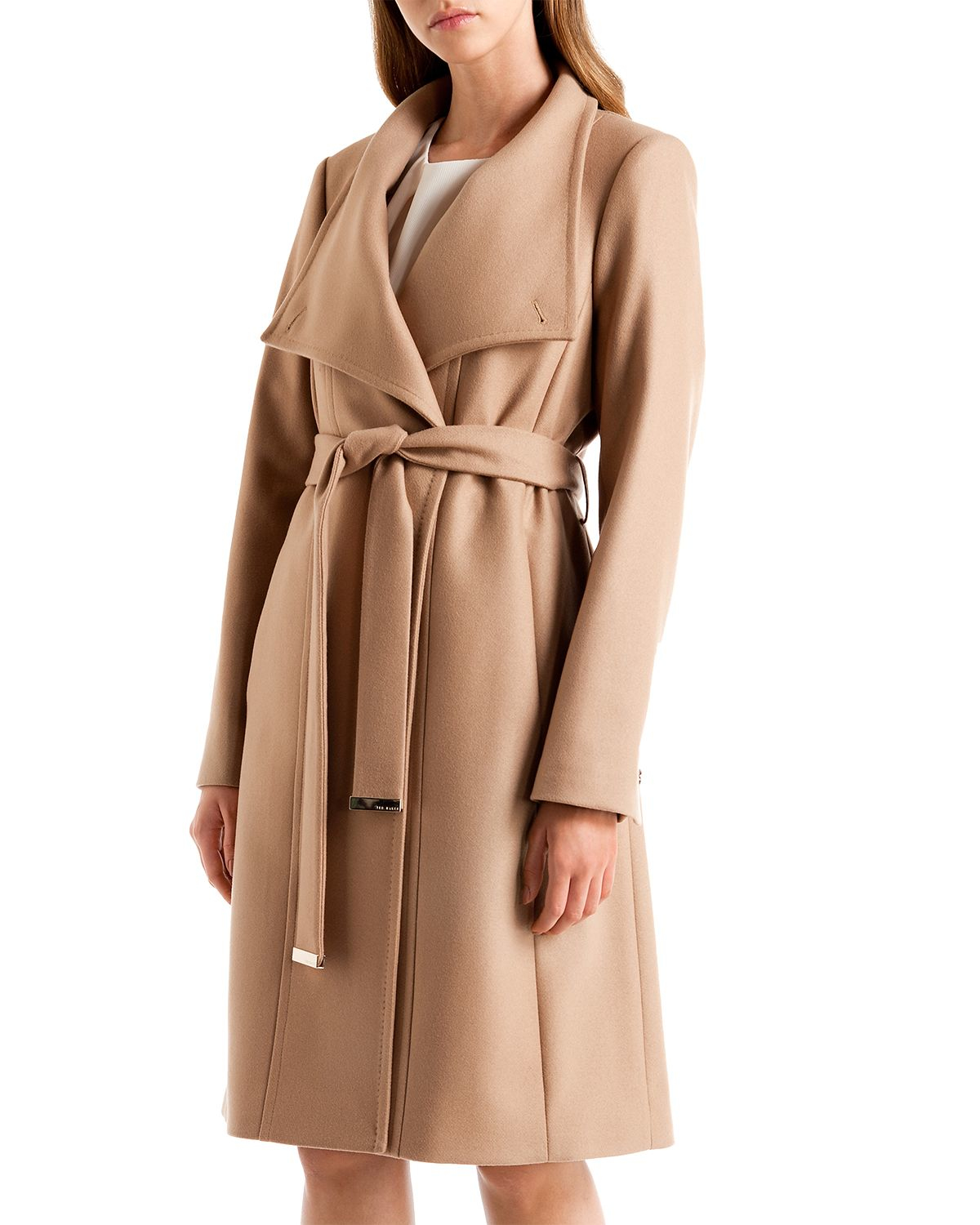 Lyst Ted Baker Lorili Long Wrap Coat In Natural