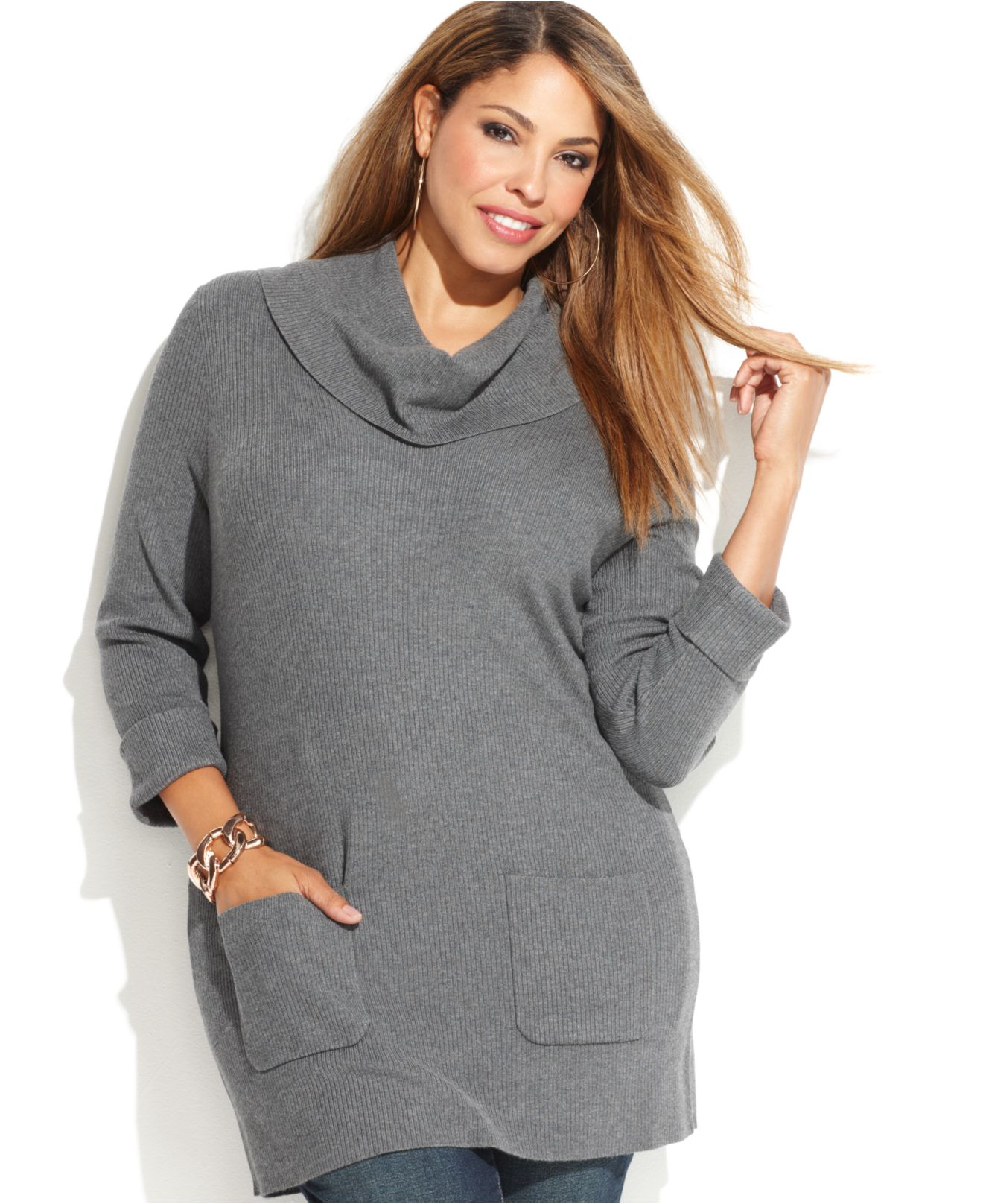 6ee375ed03b INC International Concepts Plus Size Patch-Pocket Cowl-Neck Tunic ...