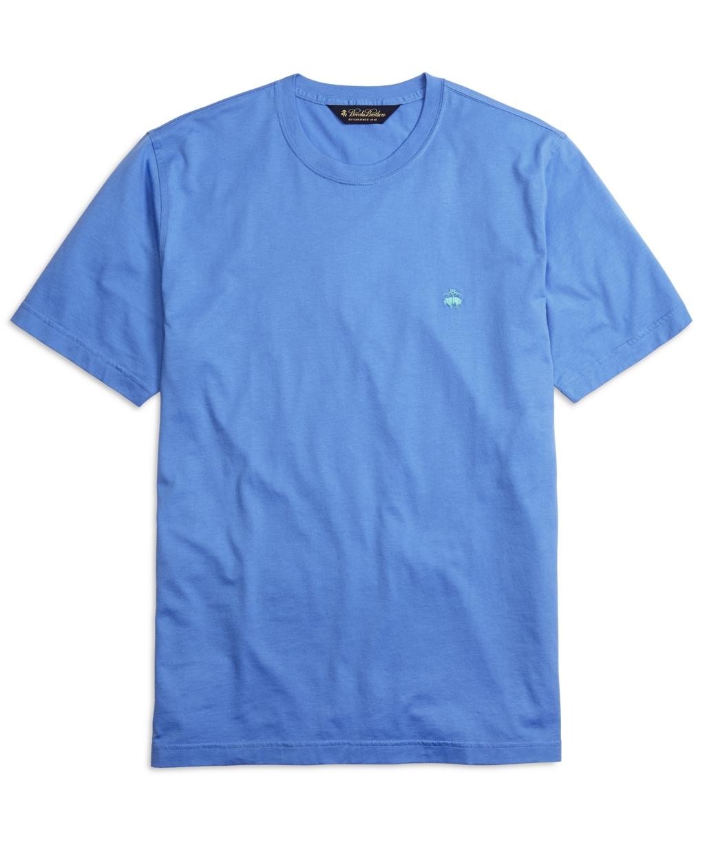 Brooks brothers supima cotton crewneck tee shirt in blue for Supima cotton dress shirts