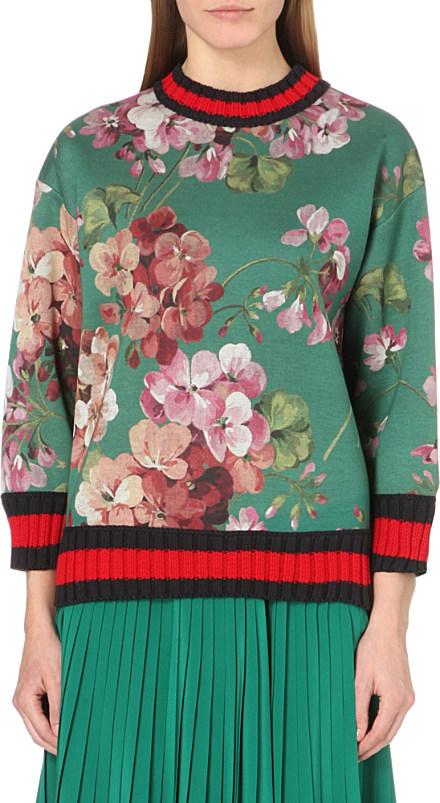 7a7a9ba3fc Gucci Green Floral-print Neoprene Sweatshirt