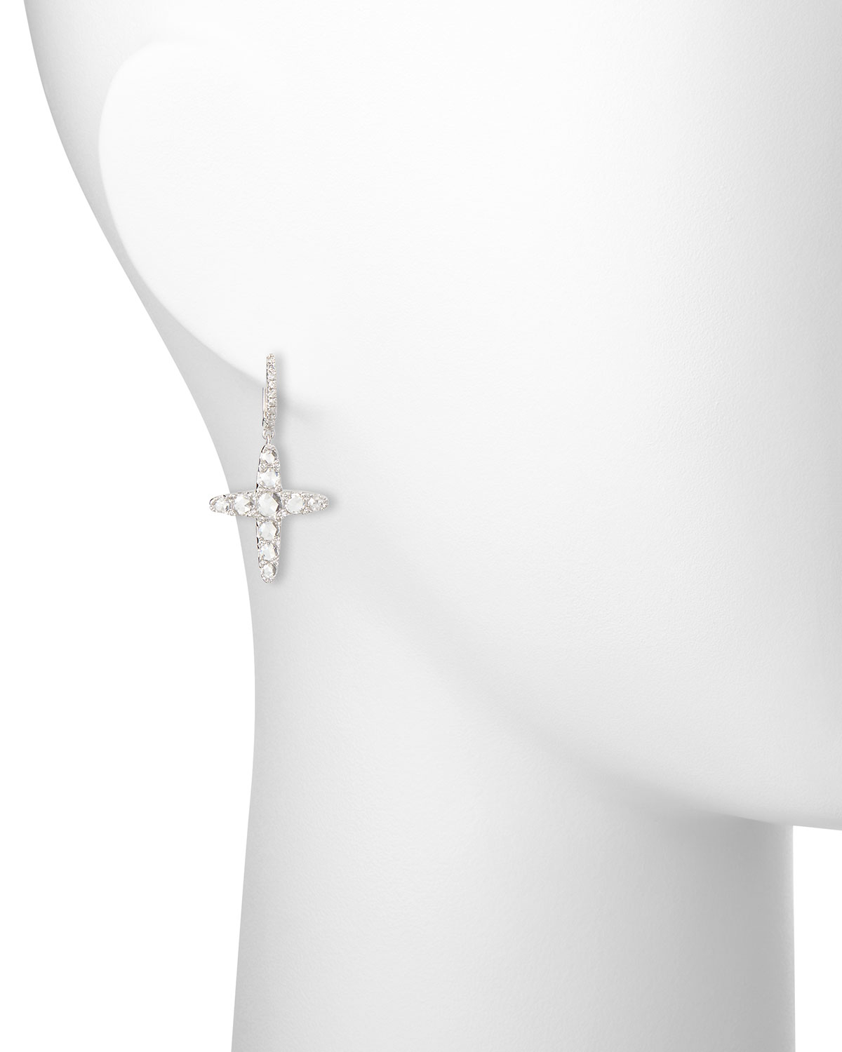 Nigaam 14k White Gold Diamond Cross Dangle Earrings In