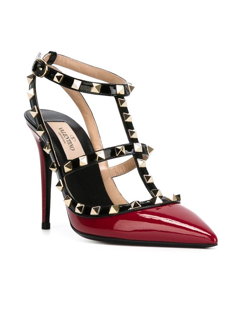 lyst valentino 39 rockstud 39 pumps in red. Black Bedroom Furniture Sets. Home Design Ideas