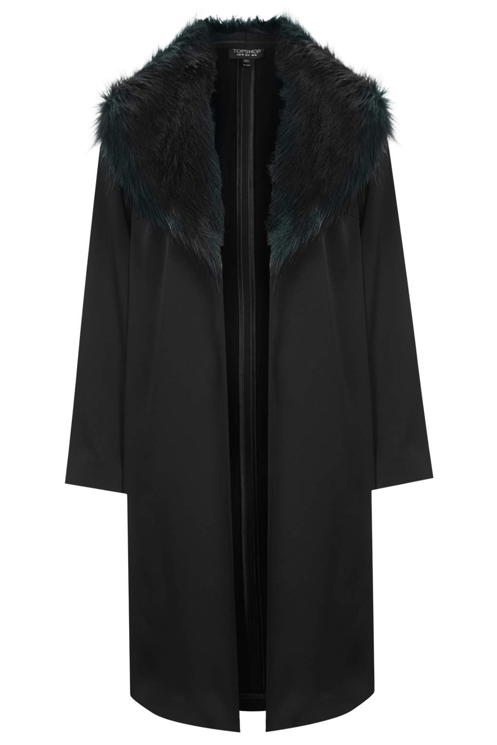 topshop faux fur collar coat in black lyst. Black Bedroom Furniture Sets. Home Design Ideas