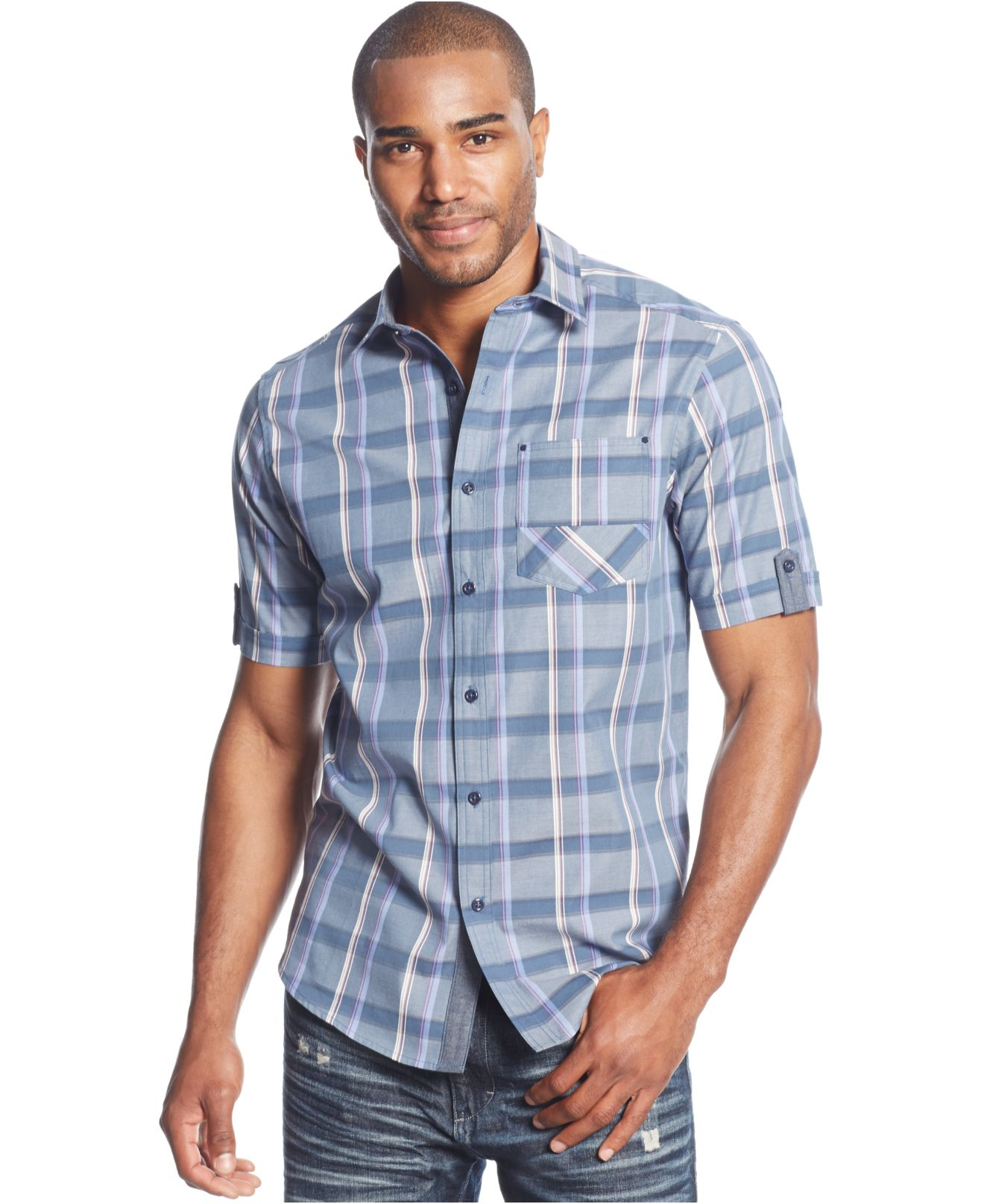 Sean john chambray check shirt in blue for men lyst for Sean john t shirts for mens