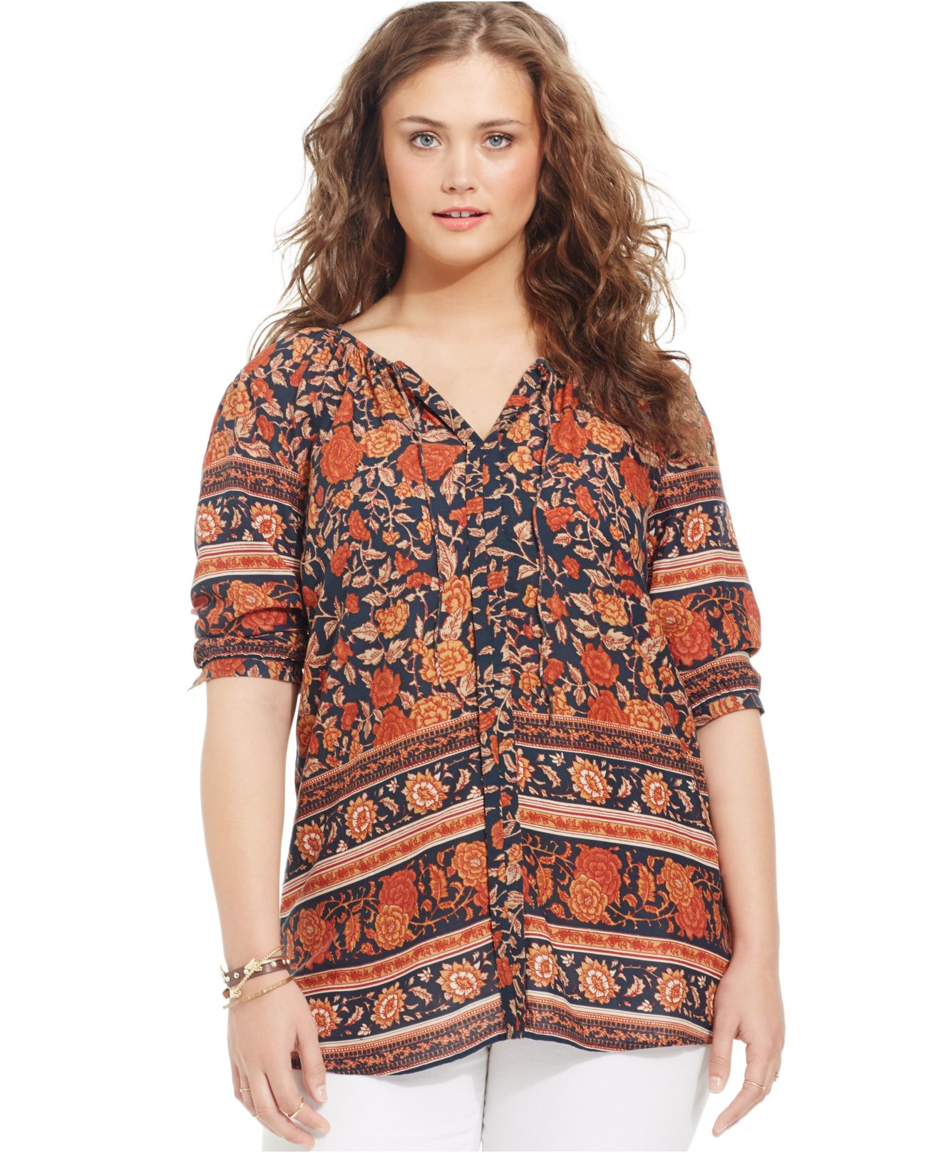 Lucky brand Lucky Brand Plus Size Floral-print Peasant Blouse in ...