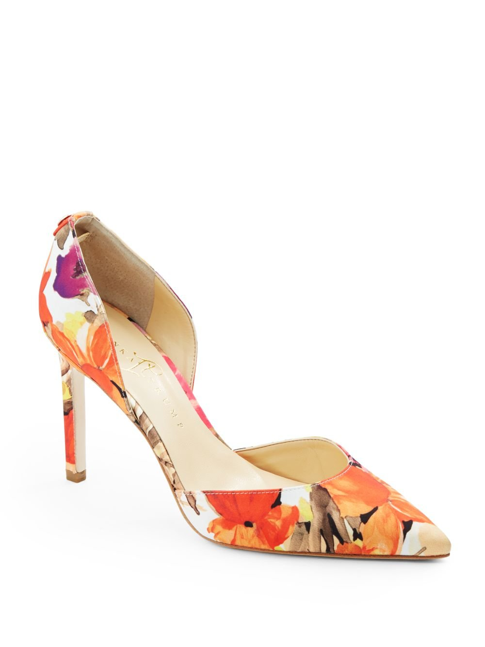 Lyst Ivanka Trump Chanise Dorsay Satin Floral Pumps In
