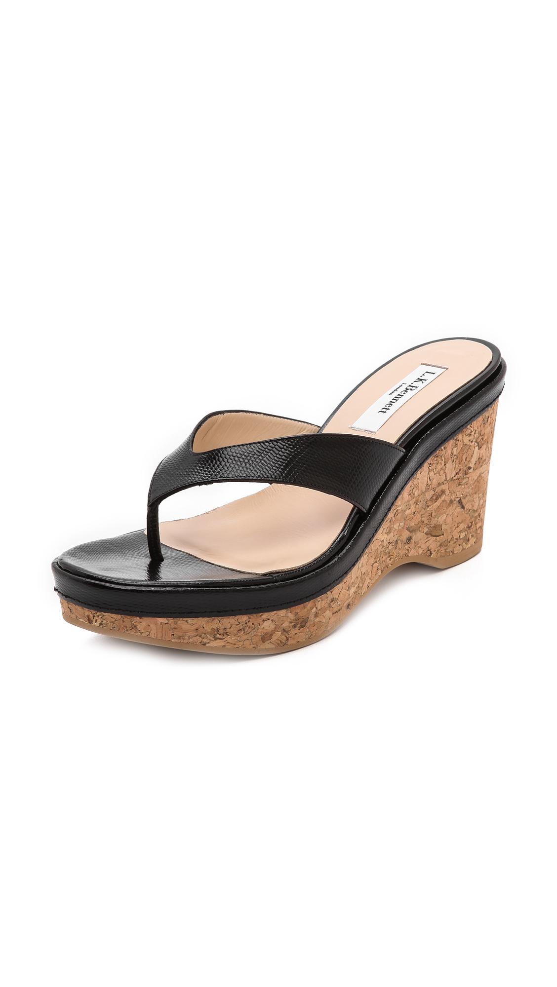 a78046cff897c Lyst - L.K.Bennett Laura Thong Wedge Sandals in Black