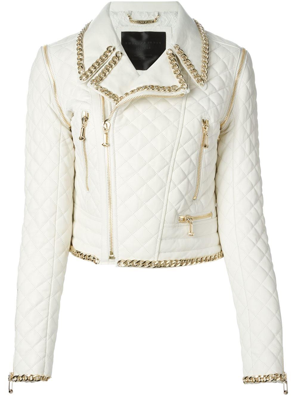 philipp plein diagonal biker jacket in multicolor white lyst. Black Bedroom Furniture Sets. Home Design Ideas