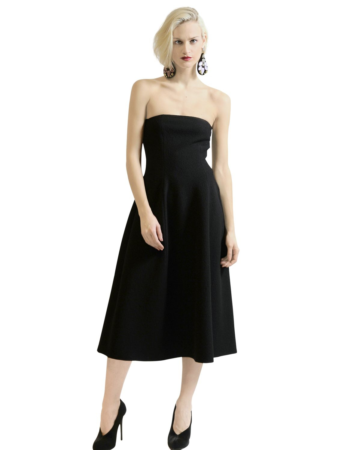 Emporio Armani Strapless Boiled Wool Dress In Black Lyst