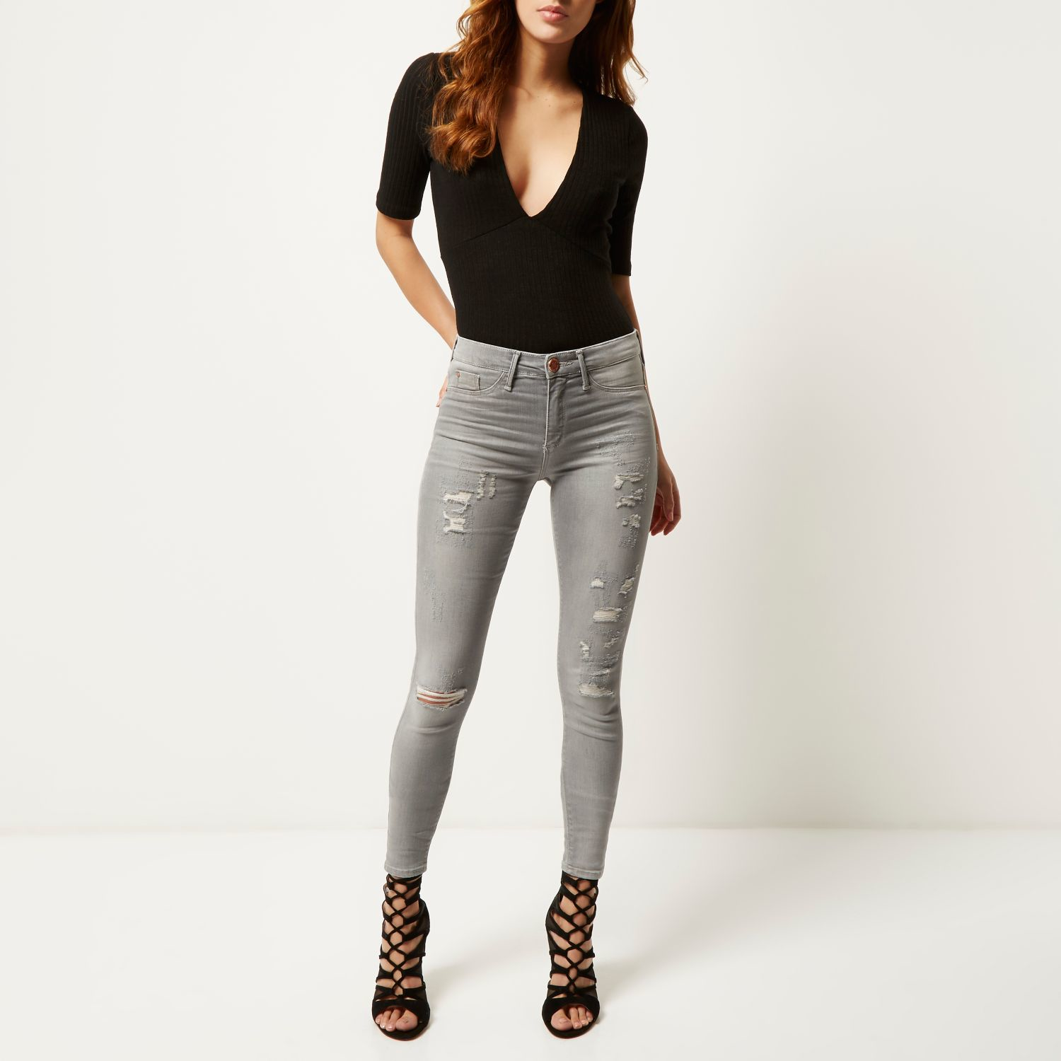 58cdf2d4266b7 River Island Light Grey Wash Ripped Molly Jeggings in Gray - Lyst